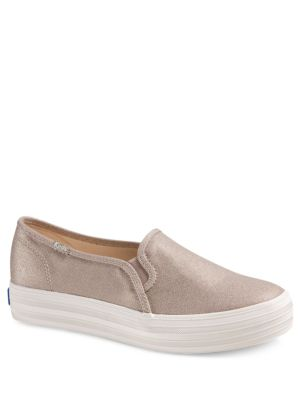Triple Decker Metallic Slip-On Canvas Sneakers by Keds