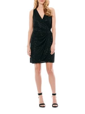 Embellished Solid Wrap Dress by Laundry by Shelli Segal