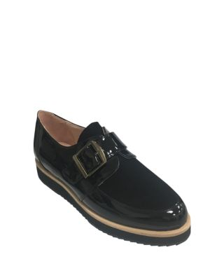 Moc Strap Patent Leather and Suede Oxfords by Patricia Green