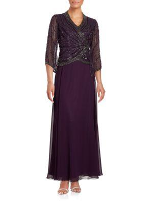 Three-Quarter-Sleeve Beaded Chiffon Popover Gown by J Kara