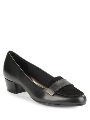 Ulana Black Leather and Suede Loafers by Easy Spirit