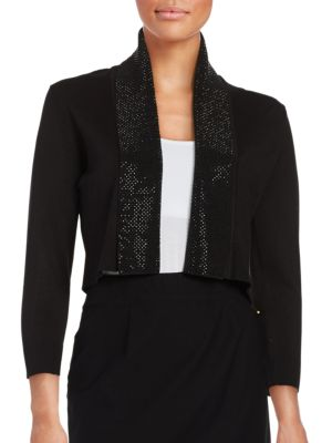 Beaded Cropped Cardigan by Calvin Klein