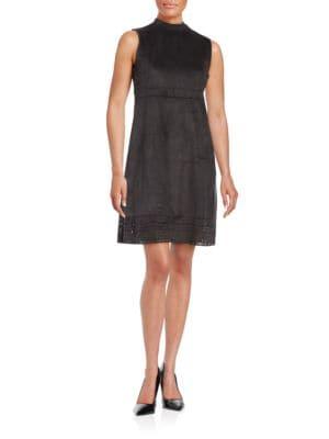 Laser-Cut Faux Suede Shift Dress by Jessica Simpson