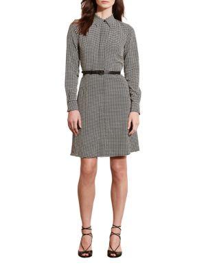 Houndstooth Crepe Shirtdress by Lauren Ralph Lauren