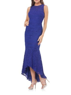 Lace Sleeveless High-Low Gown by Js Collections
