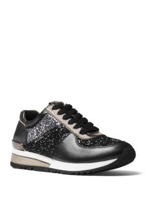 Allie Glitter and Vachetta Leather Training Sneakers by MICHAEL MICHAEL KORS