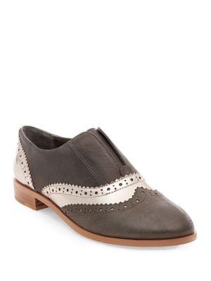 Buy Alvanah Leather Wingtip Slip-On Oxfords by Steven by Steve Madden online