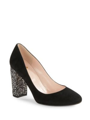 Bakki Glitter Embellished Suede High Heels by Kate Spade New York