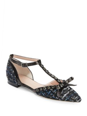 Becca Pointy-Toe Rhinestone Tweed and Leather T-Strap Flats by Kate Spade New York