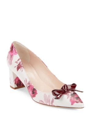 Madelaine Leather Floral-Print Pointy-Toe Pumps by Kate Spade New York