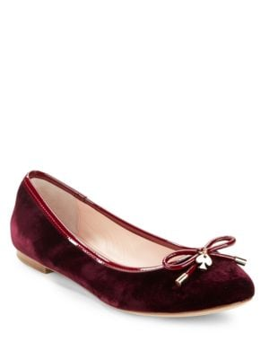 Willa Round-Toe Velvet Ballet Flats by Kate Spade New York