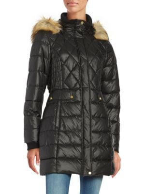 Faux Fur-Accented Quilted Coat 500045833936