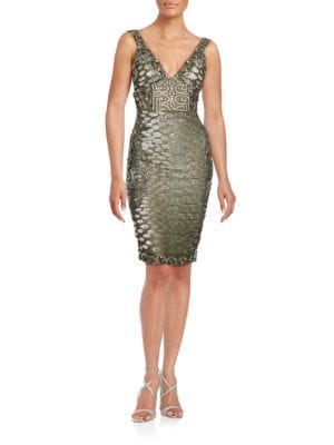 Embellished Silk Sheath Dress by Julian Joyce