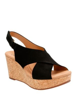 Leather Platform Wedge Sandals by Clarks