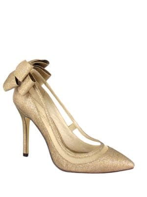 Crusy Back Bow Pointed-Toe Pumps by Menbur