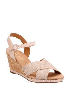 Helio Swan Leather Wedge Sandals by Clarks