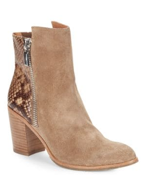 Ingrid Suede and Snakeskin Ankle Boots by Kenneth Cole New York