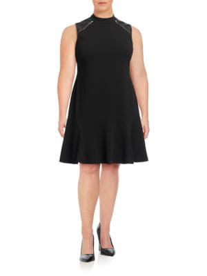 Plus Faux Leather-Accented Sheath Dress by Ivanka Trump