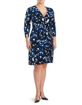 Three-Quarter-Sleeve Printed Faux-Wrap Dress by Calvin Klein Plus