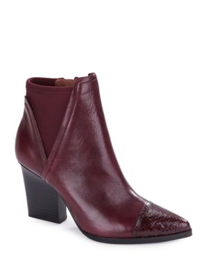 Vaughn Embossed Cap Toe Ankle Booties by Donald J Pliner