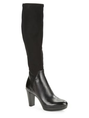 Echoe Knee-High Stretch and Leather Boots by Donald J Pliner