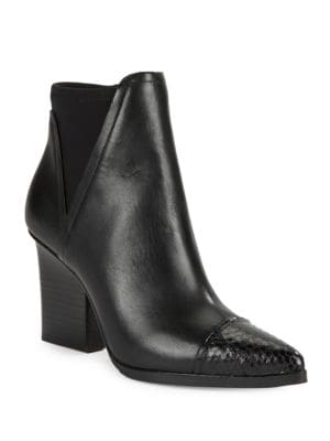 Buy Vaughn Leather and Snake Embossed Ankle Boots by Donald J Pliner online