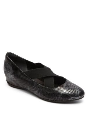 Etenia Grayson Leather Slip-On Flats by Rockport