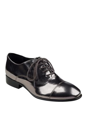 Buy Olie Glossy Metallic Leather Oxfords by Ivanka Trump online