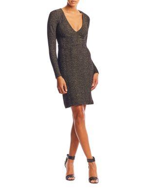 Knit Wide V-Neck Dress by Nicole Miller