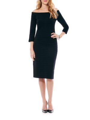 Off-The-Shoulder Bandage Body Con Sweater Dress by Laundry by Shelli Segal