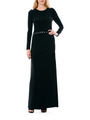 Photo of Laundry by Shelli Segal Matte Cold-Shoulder Gown