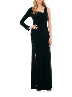 Asymmetrical Side-Slit Gown by Laundry by Shelli Segal