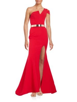 Textured One-Shoulder Trumpet Gown by Nicole Bakti
