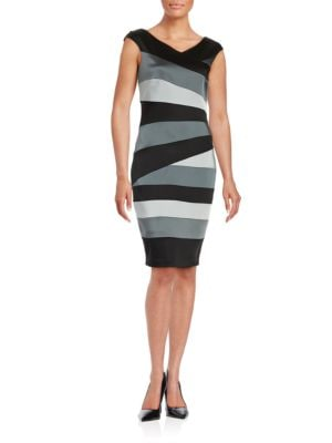 Asymmetrical Seamed Cap-Sleeve Dress by JAX