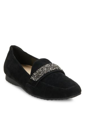 Quincey Embellished Suede Loafers by Karl Lagerfeld Paris