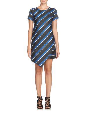Abbey Striped Asymmetrical Shift Dress by Cynthia Steffe