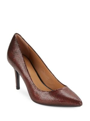 Gayle Embossed Leather Pumps by Calvin Klein