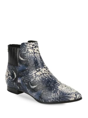 Eunice Snakeskin-Embossed Leather Ankle Boots by Calvin Klein