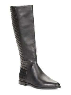 Buy Donnily Leather Knee-High Boots by Calvin Klein online
