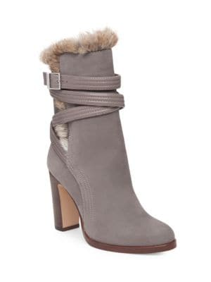 Ynez Buckled Rabbit Fur Trimmed Suede Ankle Boots by Louise et Cie