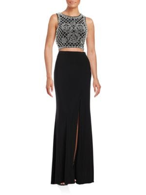 Two Piece Cropped Top and Skirt Set by Xscape