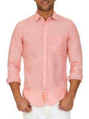 Slim-Fit Linen Button-Down Shirt by Nautica