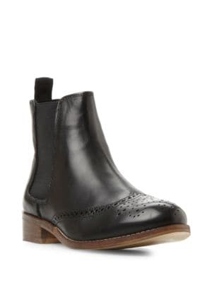 Quentin Brogue Leather Chelsea Booties by Dune London