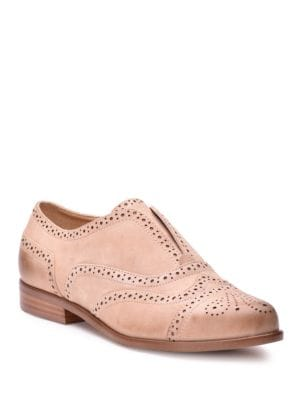 Tobey Wingtip Toe Metallic Suede Oxfords by Splendid