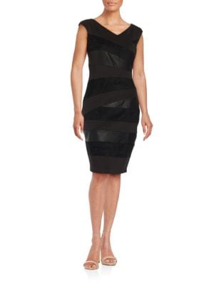 Cap-Sleeve Banded Bodycon Dress by JAX