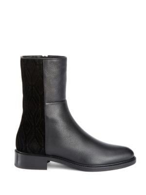 Gabrina Pebbled Leather and Suede Boots by Aquatalia