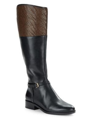 Genevive Woven Leather Riding Boots by Cole Haan