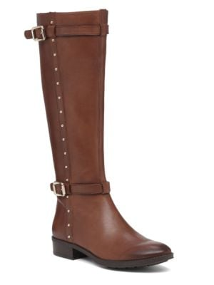 Preslen Studded Leather Riding Boots by Vince Camuto