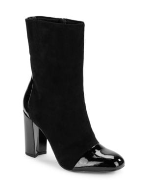 Bella Patent Leather and Suede Boots by IMNYC Isaac Mizrahi