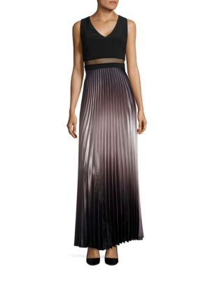 Pleated Ombre Gown by Betsy & Adam